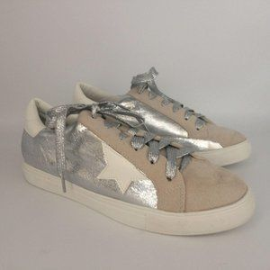 Super Star Faux Suede Metallic Sneakers Silver 9
